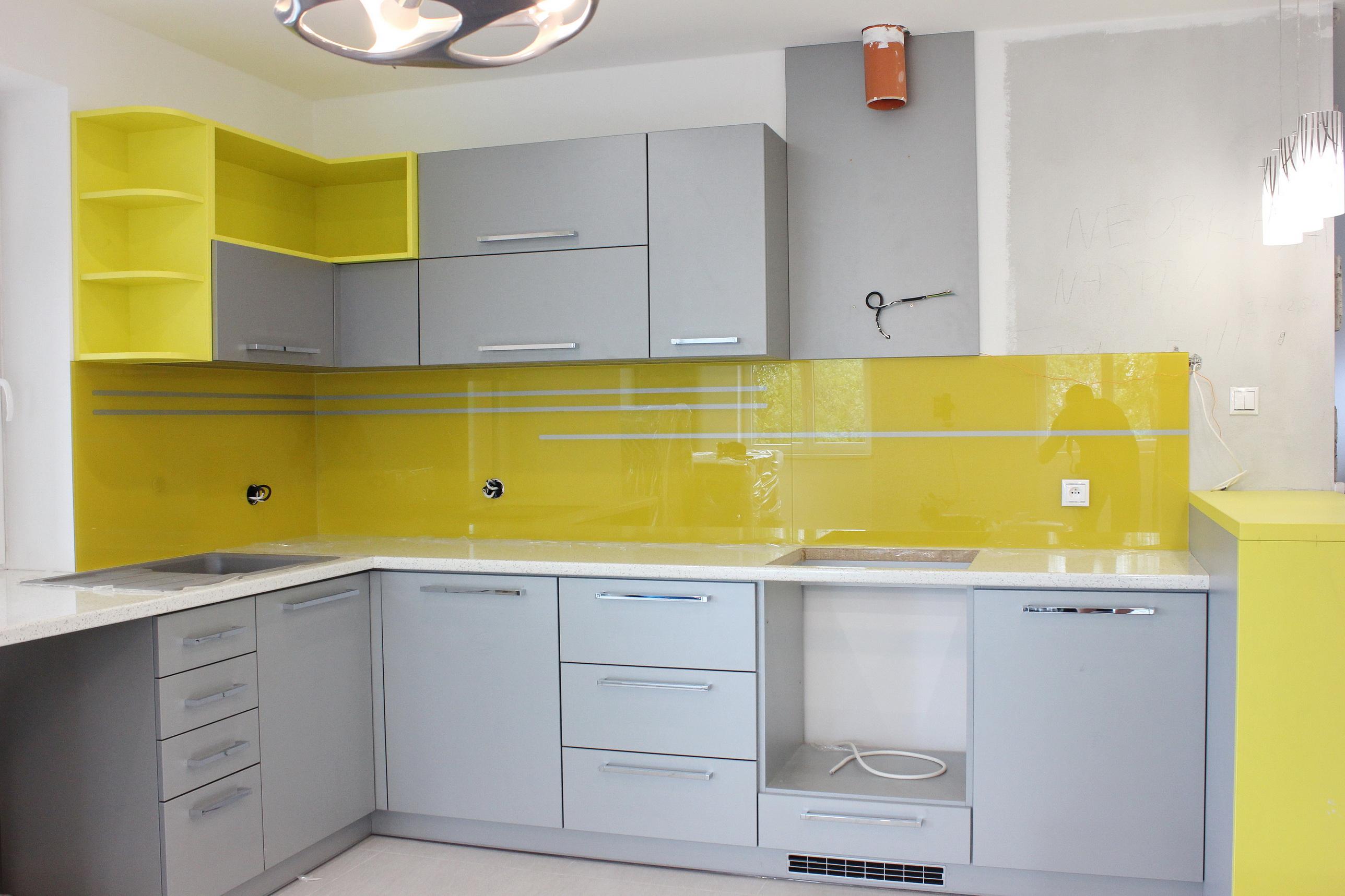 sklenená kuchynská zástena žltá LKZ-322.1
