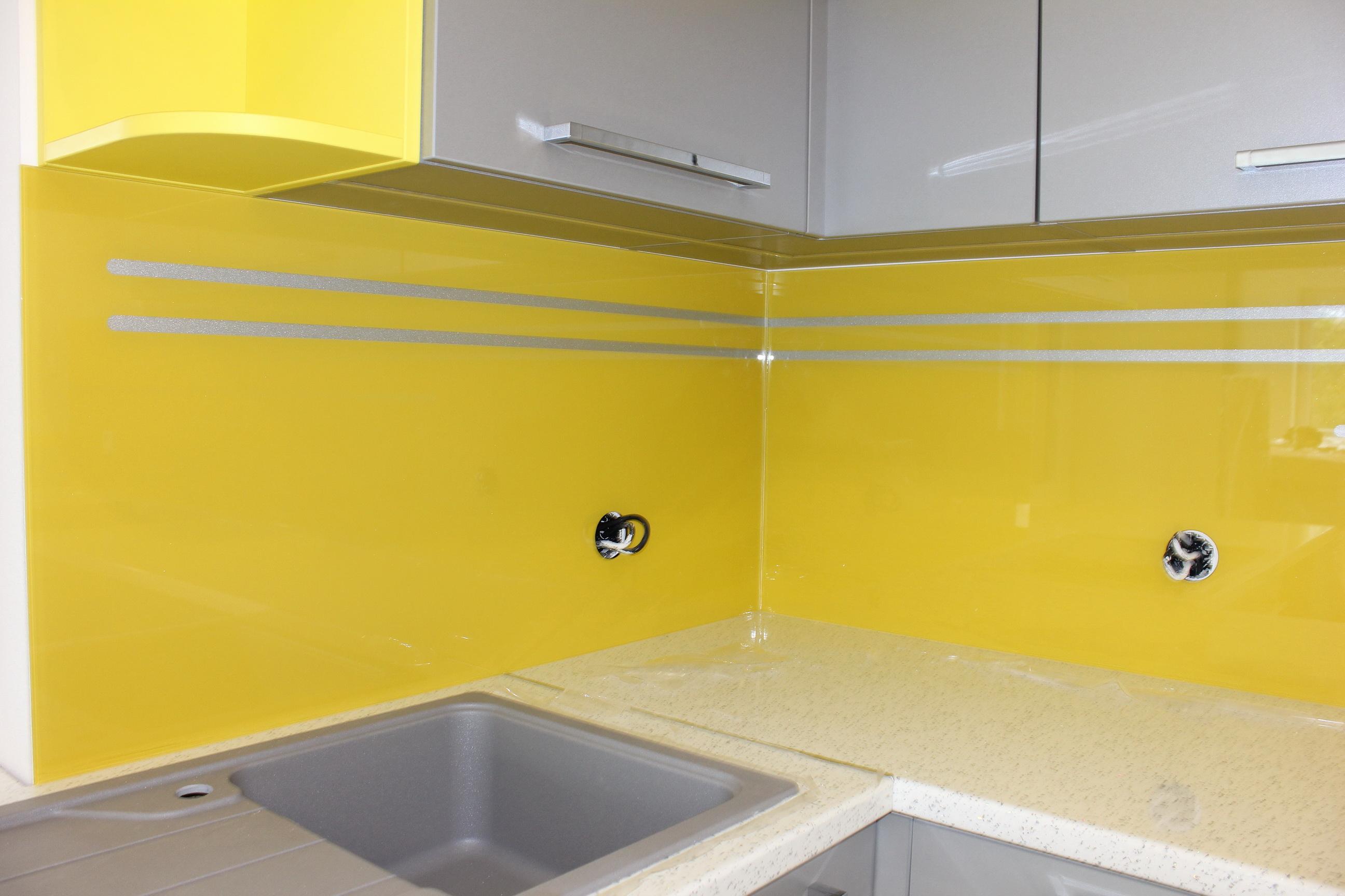 sklenená kuchynská zástena žltá LKZ-322.3
